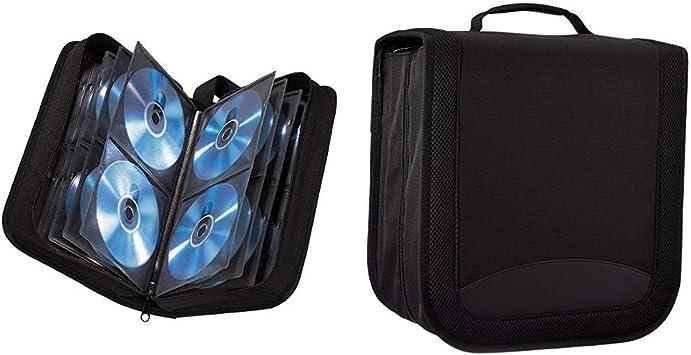 Hama - Estuche Porta CD para 120 CD/DVD/BLU-Rays, portafolios para Guardar CD, Negro & AmazonBasics - Funda de Nailon para CD/DVD (Capacidad para 400 Discos), Color Negro: Amazon.es: Informática