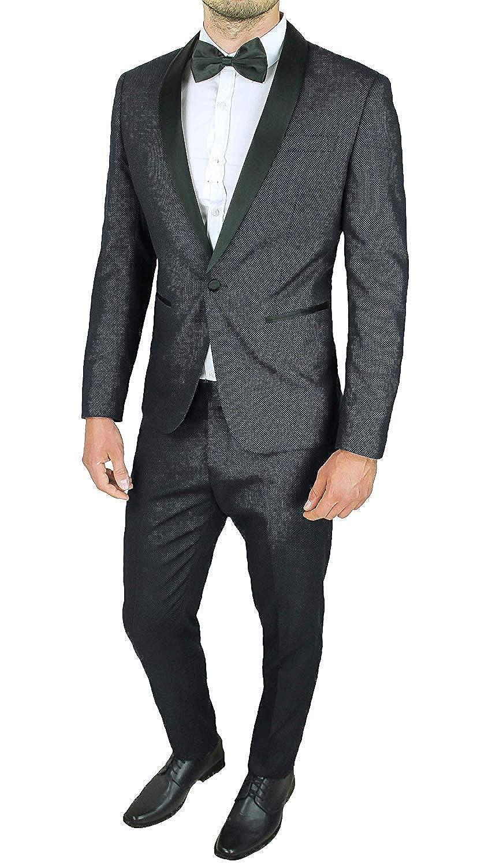 Abito Uomo Sartoriale Nero Slim Fit Vestito Smoking a Pois Elegante Cerimonia