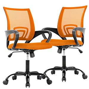 Office Chair Desk Chair Mesh Computer Chair Back Support Modern Executive Adjustable Chair Task Rolling Swivel Chair for Women,Men(2 Pack) (Orange)
