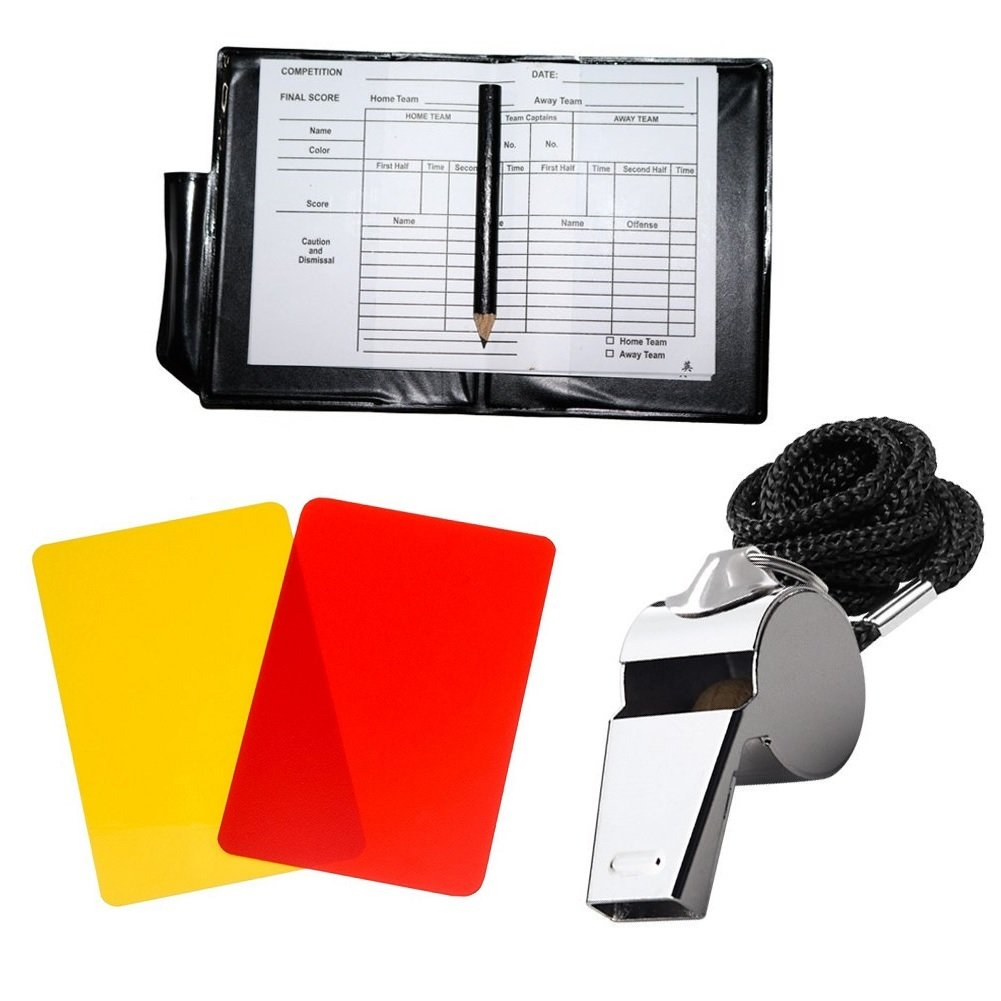 Metal Whistle with Referee Cards Set Referee Cards for Soccer Football Golvery Soccer Kit Ideal Referee Kits for Game Sports