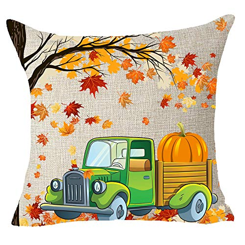 FELENIW Happy Fall Yall Blessing Gift Big Tree Maple Fall Leaves Falling Green Car Carry Pumpkins Throw Pillow Cover Cushion Case Cotton Linen Material Decorative 18x18 inches