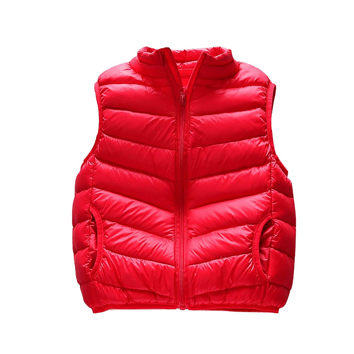 FASH Baby Girls Boys Warm Waistcoat Kids Autumn Winter Lightweight Gilet Vest Sleeveless Jackets Outwear for 2-6Years,Red,90cm by FASH