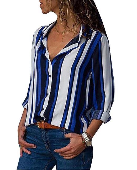 ASSKDAN Chemise Femme Bureau Classique Blouse à Rayure Col V Tops Élégant  Tunique Boutons Été  Amazon.fr  Vêtements et accessoires 619661c7b42f