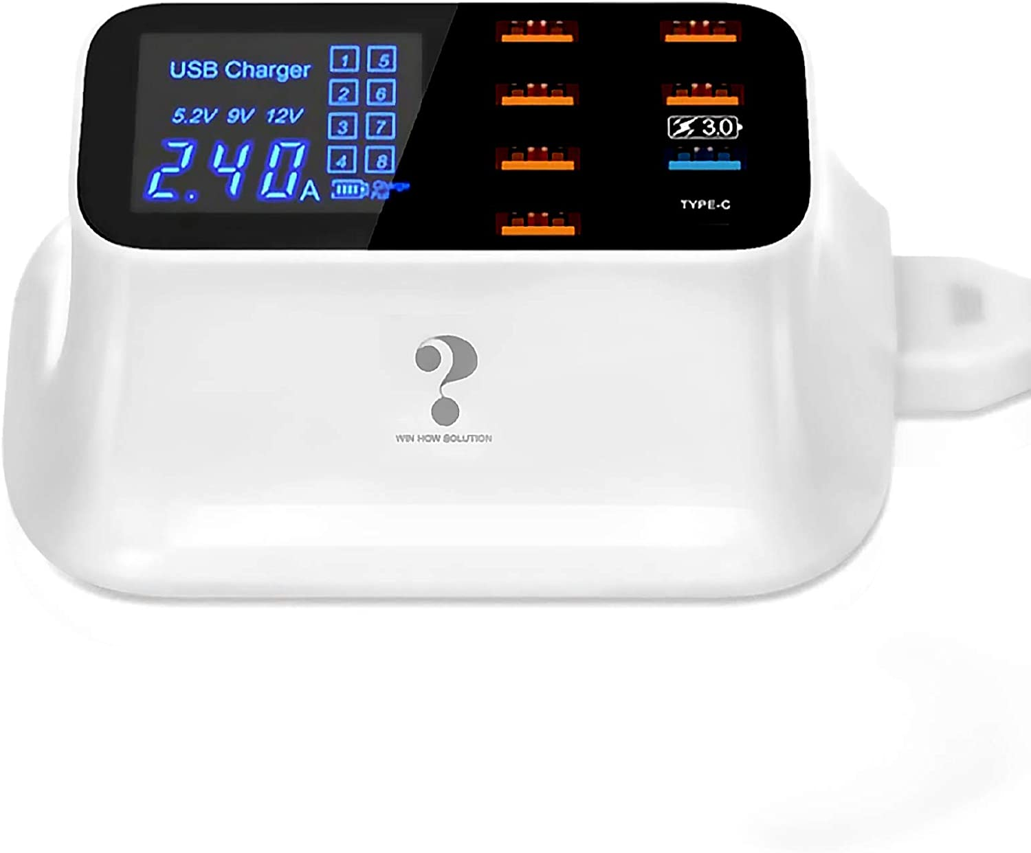 WIOR Multi Port USB Charger, 8-Port USB Charging Station with Quick Charge 3.0 USB Port, Type C Port and LCD Display, Compatible with iOS & Android Devices (iPhone, Ipad, Huawei, Samsung Galaxy)