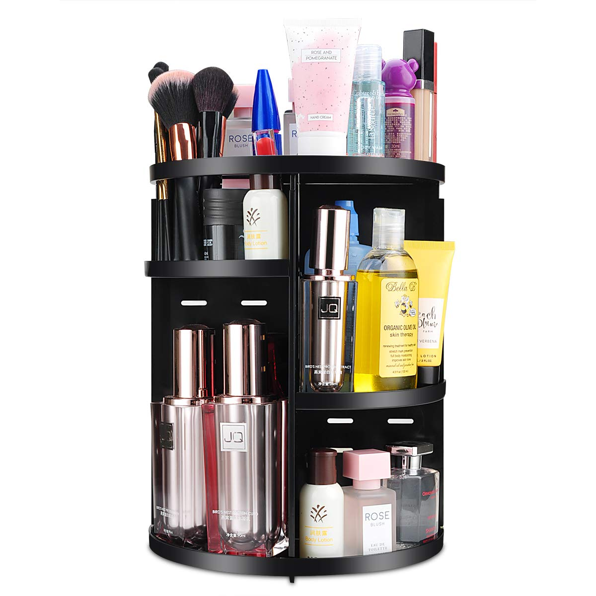 360 Spinning Makeup Organizer, Round Storage Rack Makeup Carousel Cosmetics Shelf Tower for Countertop and Bathroom, Black