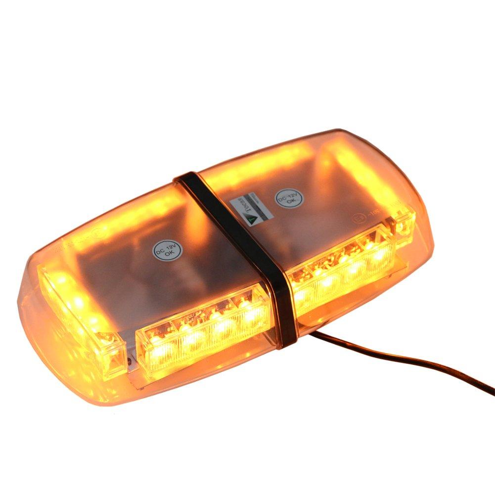 T Tocas 24 LED Blitzleuchte Notfall Warnleuchten Mini Bar mit Magnetfuß, für Auto Boots Marine Dach, 7 blinkende Modi, Bernstein und Weiß LA-LEL112B