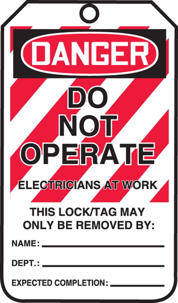 Accuform MLT402PTP RP-Plastic Lockout Tag, Legend''DANGER DO NOT OPERATE ELECTRICIANS AT WORK'', 5.75'' Length x 3.25'' Width x 0.015'' Thickness, Red/Black on White (Pack of 25)