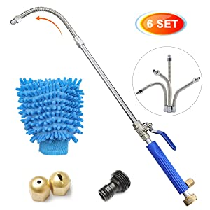 CAVEEN Hydro Jet High Pressure Power Washer Wand Extendable Car Washer Wand Water Hose Nozzle, Garden Hose Sprayer, Power Watering Jet for Car Washing with Flexible Wand, Scrubbing Mitt, 2 Tips