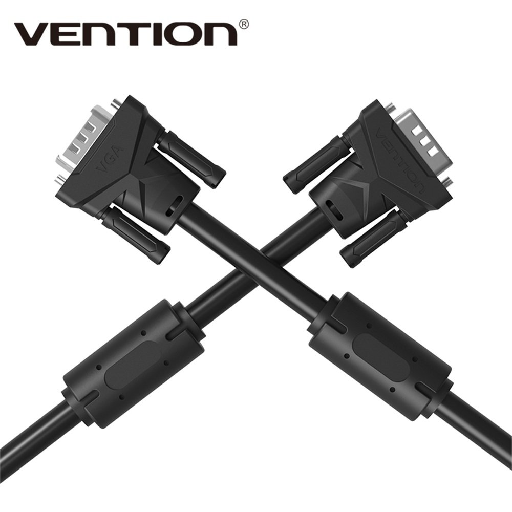 Vention VGA to VGA Round Cable Male to Male Black Braided Shielding for PC HDTV VGA Cabo Video 65ft//20m