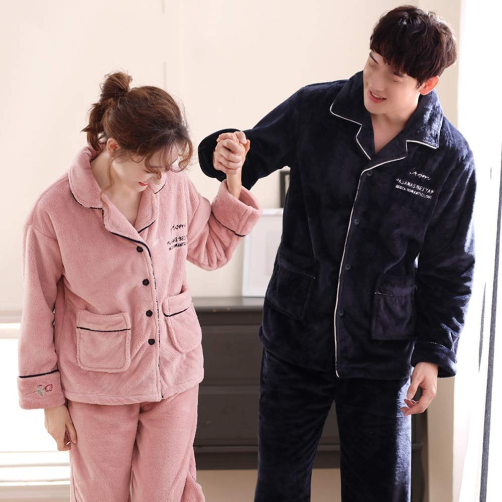 Color : Royal Blue-Male, Size : XXL Lovers Loose Splicing Edge Pajamas Male Winter Thicken Keep Warm Clothes Female Skin-Friendly Exquisite Simple Casual Home Clothing LiRuiPengSY GWDJ Pajamas