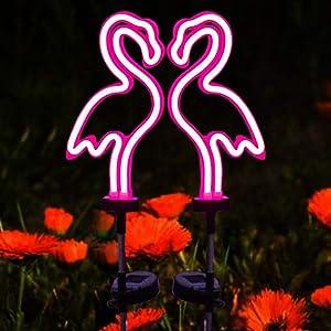 2Pack Solar Path Light Outdoor Flamingo Garden Decorations Solar Lights Outdoor Waterproof Garden Solar Powered Light LED Warm Lights Outdoor for Yard, Garden, Path, Landscape, Patio, Walkway
