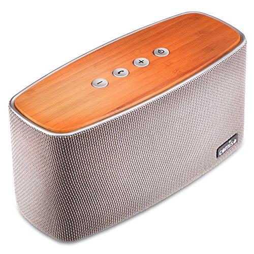 COMISO 30W Mobiler Bluetooth 4.1 Lautsprecher mit Dual 15W Treiber Wireless Bambus Speaker mit reinem Bass und eingebautem Mikrofon für iPhone, iPad, Samsung, Nexus, HTC und andere Android Geräte