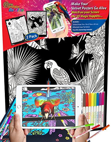 New Generation GO Alive - PARROT - 11x15 inch Velvet Posters Color and watch A Magical Animated Show on YOUR Creativity, Scan the poster with your smartphone or tablet to open another 4D dimension