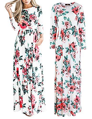 Maxi Plage Voyage Longue blanc de ISASSY Soire Fleur Robe Boho Cocktail Z Vintage t Femme F6ftfqz
