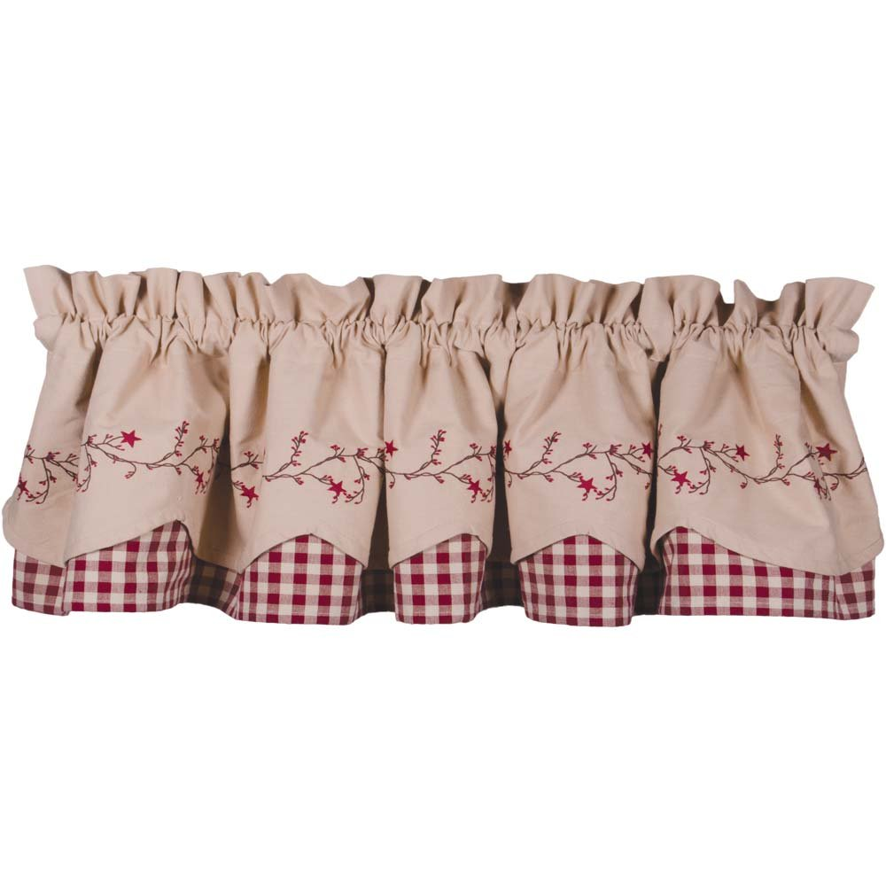 Primitive Home Decors Star Berry Vine Check Fairfield Valance - Barn Red