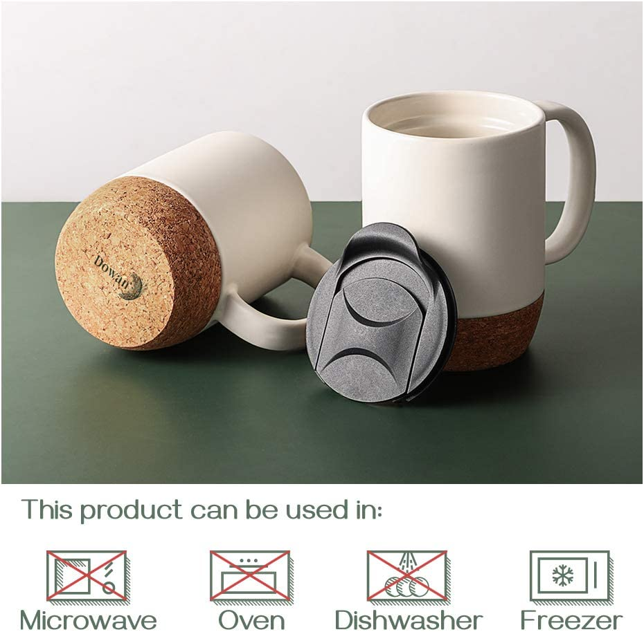 Set of 2 Large Ceramic Mugs DOWAN 15 oz Coffee Mug Sets with Insulated Cork and Splash Proof Mug Lid Matte White