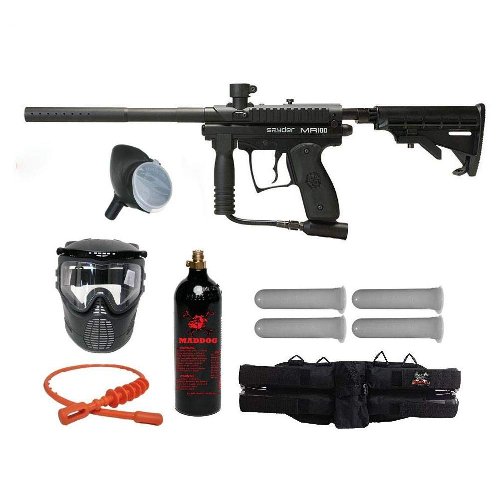 MAddog Kingman Spyder MR100 Silver Paintball Gun Package - Diamond Black by Maddog