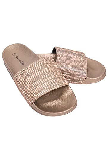 dda2a4a464ec Forever Folie Women s Slip On Diamante Sliders Slippers Sandals - Champagne  (EUR ...