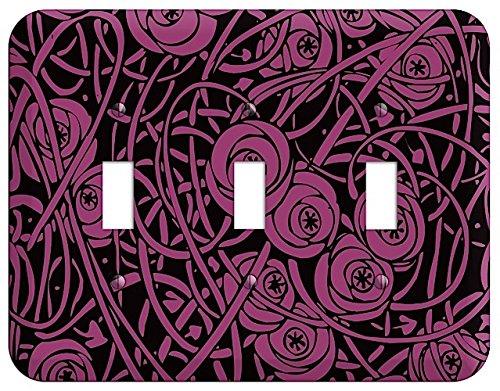 (Fuschia Deco Floral Triple Toggle Switchplate)