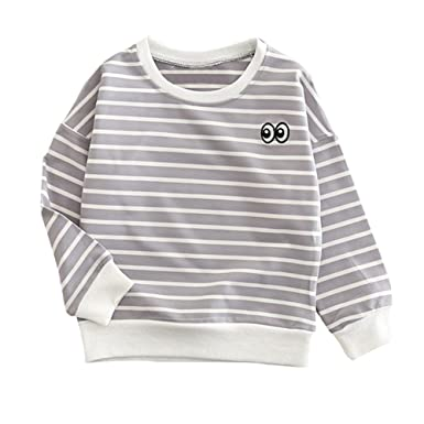 452e74fc95df Amazon.com  Baby Boy Girl Pullover Sweatshirt Cotton Stripe Infant ...
