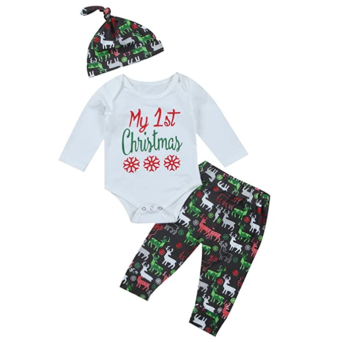 3pcs Baby Girl Boy 1st Christmas Bodysuit Deer Pants Outfit With Hat