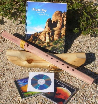 Windpony F# 6 Hole Unfinished Cedar Native American Style Flute with book & 3 CDs Starter Set - Books and CDs