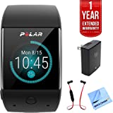 Polar M600 Sports Smart Watch - Black (90063087) w/ Extended Warranty Bundle Includes, 1 Year Extended Warranty, Fusion Bluetooth Headphones, Universal Travel Wall Charger & 1 Piece Micro Fiber Cloth