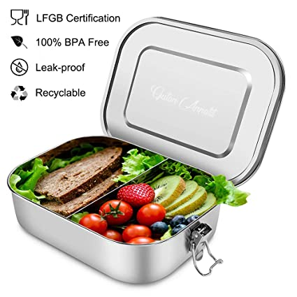 Edelstahl Lunchbox auslaufsicher 1 Fächern Brotdose Vesperbox 800ml Bento Box DE