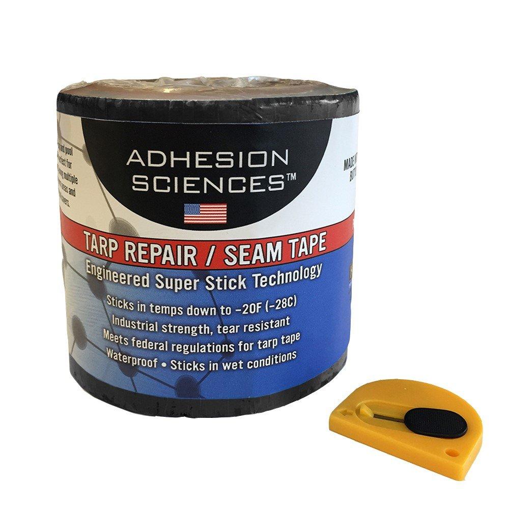 Adhesion Sciences Black High Strength Tarp/Seal Repair Patch Water Proof Super Stick Tape 4'' x 50' Tape Bonus Cutter