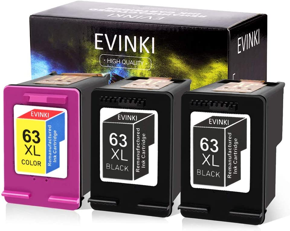 EVINKI Remanufactured 63XL Ink Cartridge Replacement for HP 63 XL 63XL Combo Envy 4520 4512 4516 Officejet 525 5258 3830 3833 Deskjet 3630 3634,Upgraded Chip,Show The Ink Levels (2 Black, 1 Color)