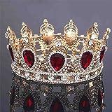 Zebratown Royal Crown Golden Rhinestone Imitation Ruby Tiara Large Quinceanera Crown Wedding Hair Accessories