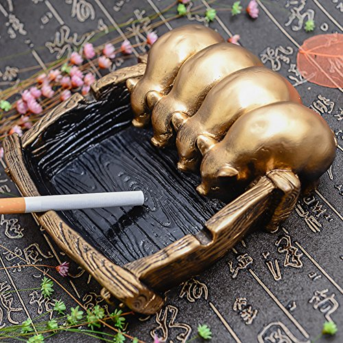 Max&Mix Creative Vintage Cigar Ashtray,Pig Ash Tray Holder Large Tabletop Decorative Cigarettes Ashtray for Home Decor Gift (Gold)