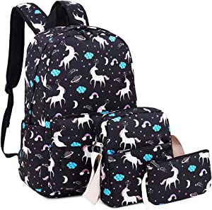 Bookbag School Backpack Girls Kids Schoolbag with Shoulder Bag and Pencil Pouch Backpack set (Black)
