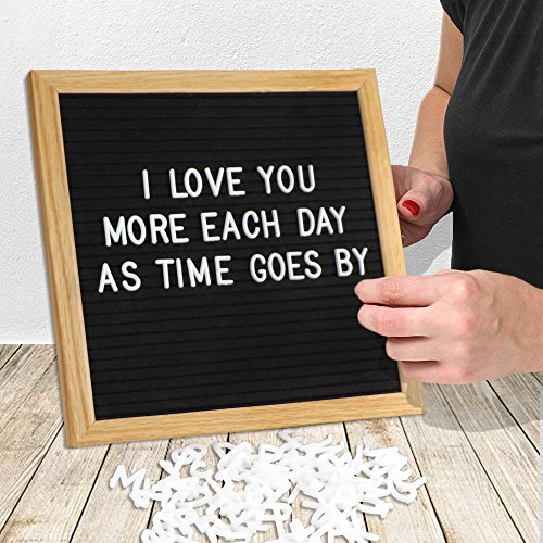 Felt Letter Board, Danlit 10x10 In Message Board Wood Changeable LetterBoard 290 White Plastic Characters Premium Solid Oak Frame Black Letter Board with White Letters, 1xStorage Bag&1xSmall Scissors by Danlit