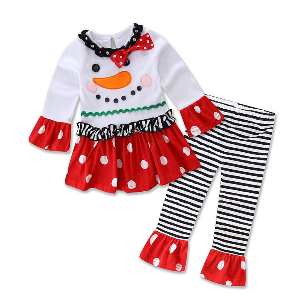 GorNorriss Christmas Outfit Set Baby Girls Snowman T-Shirt Striped Pants Outfits Set by GorNorriss