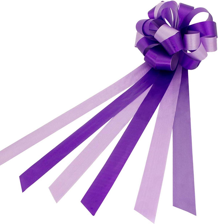 Nuluxi Lazos de Boda Coche con Cinta Lazos de Regalo para Montar de Boda Lazos Regalos Grandes para Coche Boda para Arreglos Florales Cestas Coches de Boda Decoraciones de Fiesta-10 Piezas (Púrpura):