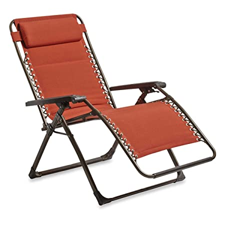 Outdoor Deluxe Oversized Padded Adjustable Zero Gravity Lounge Patio Deck Chair Multi-Positional, Rust-Resistant Steel, Weather Fade Resistant Premium Fabric, TERRA COTTA RED