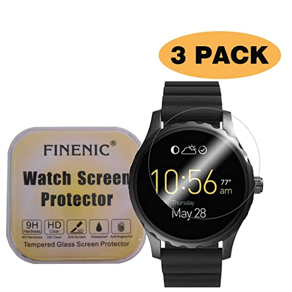 FINENIC [3 Pack] Screen Protector for Fossil Q Marshal smartwatch [ 9H Tempered Glass] [No White Edge][Easy-Install] …