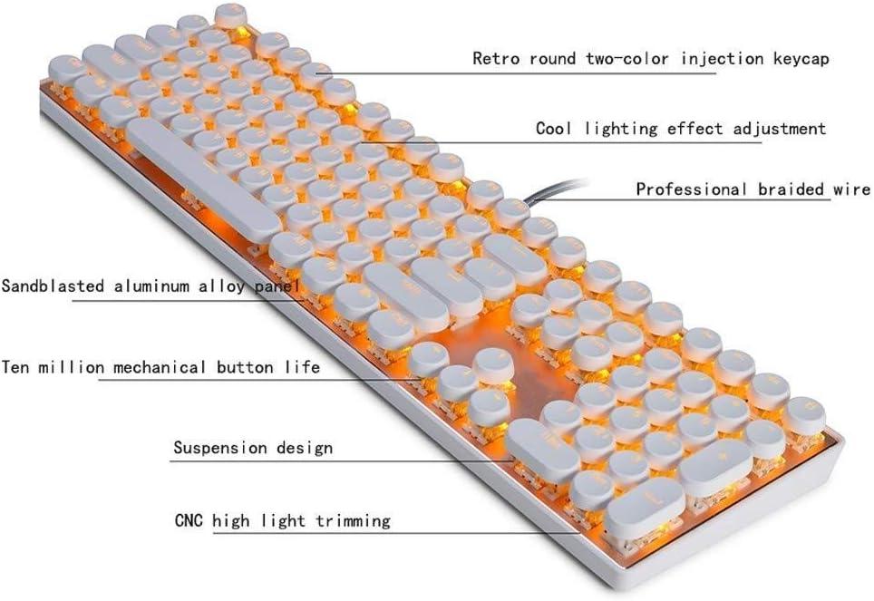 Tbagem-Yjr Mechanical Punk USB Cable 104 Key Backlight Keyboard Home Game Backlit Keyboard