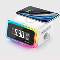 Momax Q.Clock 2 Digital LED Alarm Clock with Qi Fast Wireless Charger [10W] and Bluetooth Speaker/Ambient Light - White