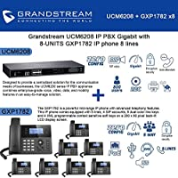 Grandstream UCM6208 IP PBX Gigabit with 8-UNITS GXP1782 IP phone 8 lines