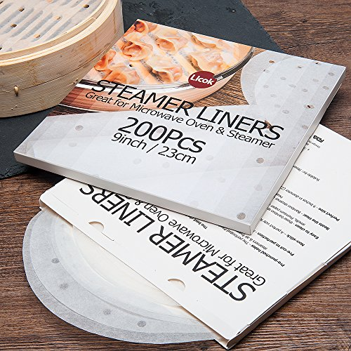 200pcs Air Fryer Liners - 9 Inch Non-stick Perforated Parchment Steamer Paper Liners for Bamboo Steamer, Steamer Basket, 5.3QT Air Fryers by Licok (Image #6)'