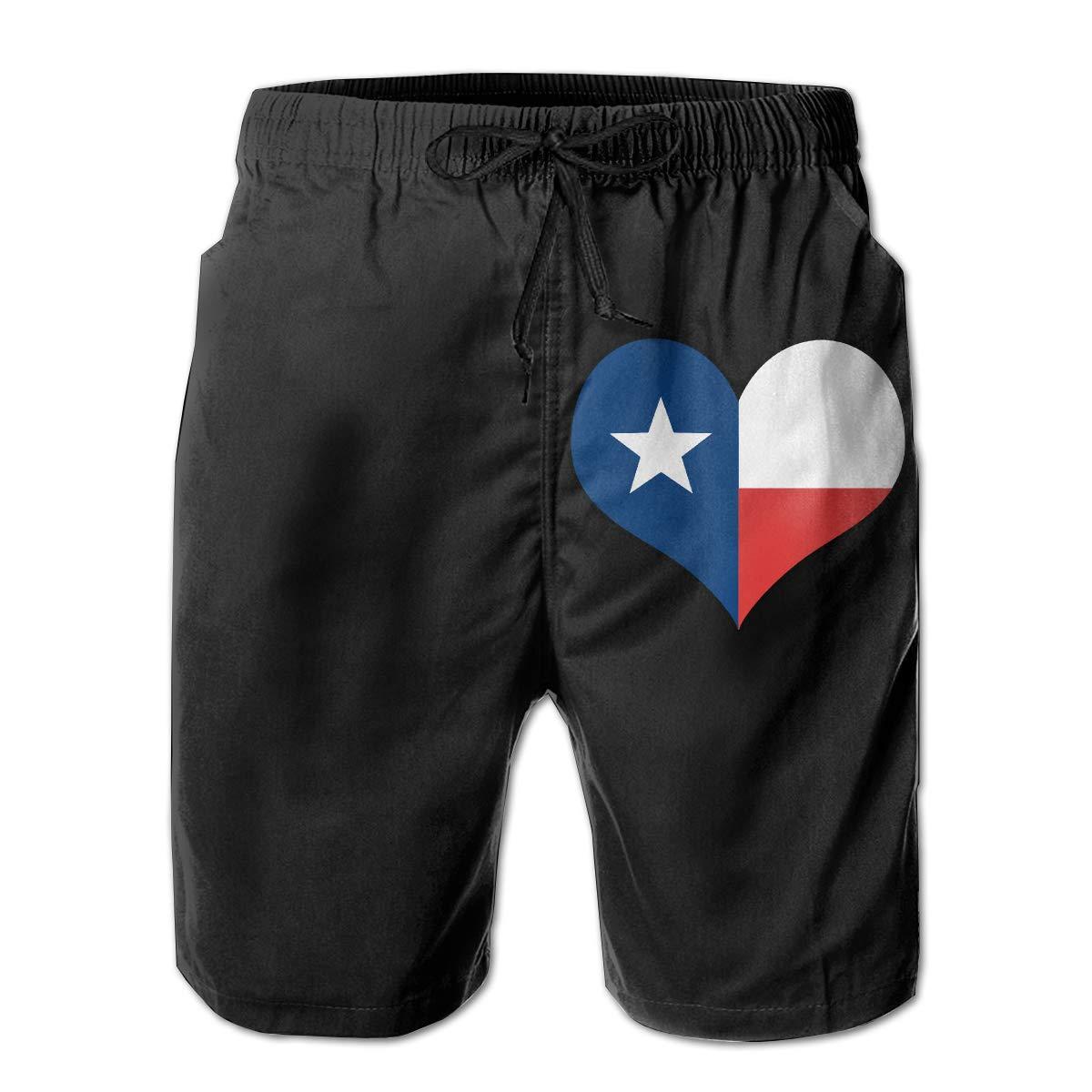Xk7@KU Mens Athletic Swim Trunks Polyester Texas Flag Heart Board Shorts with Pockets