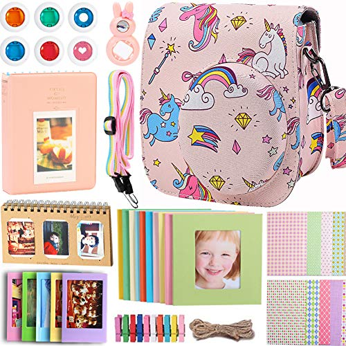 Case & Accessories Compatible with Fujifilm Instax Mini 9 8 8+ Instant Polaroid Film Camera, Bundle Pack Include Albums, Filters, Strap&Other Accessories [Rainbow & Unicorn,9 Items Kit] by SAIKA