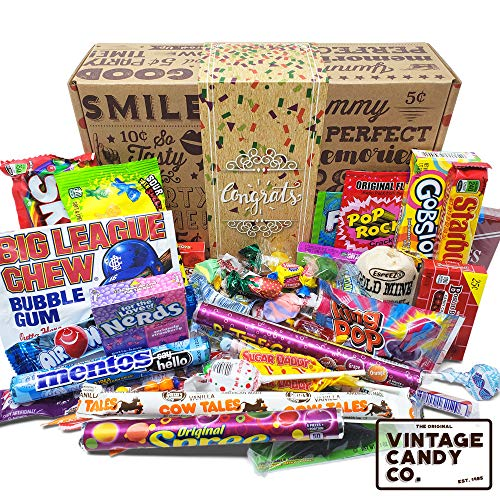 (VINTAGE CANDY CONGRATULATIONS CARE PACKAGE - Nostalgia Candies Basket CONGRATS GIFT BOX - Fun Pride Gift For Boy or Girl - PERFECT For Adults, College Students, Friend, Teens, Man or Woman)