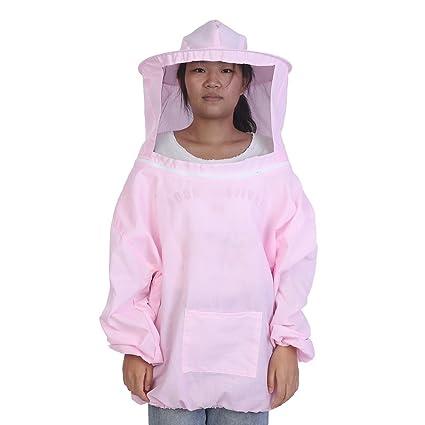 Traje de Apicultura, Kit de Sombrero de Chaqueta de Apicultura de Algodón Protector con Velo Equipo de Celador de Abeja(Pink)