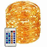 LED String Lights 99ft 300 LEDs String Lights Dimmable with Remote Control, Waterproof Lights for Bedroom, Parties, Garden, Wedding, Yard, (Copper Wire Lights, Warm White) (暖白99ft)