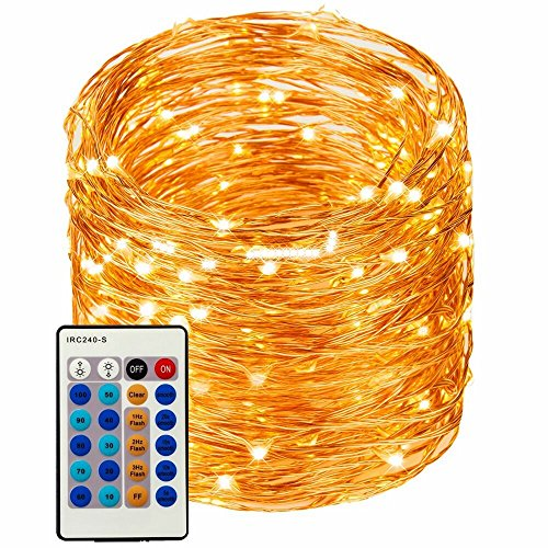 LED String Lights 99ft 300 LEDs String Lights Dimmable with Remote Control, Waterproof Lights for Bedroom, Parties, Garden, Wedding, Yard, (Copper Wire Lights, Warm White) (暖白99ft) ()