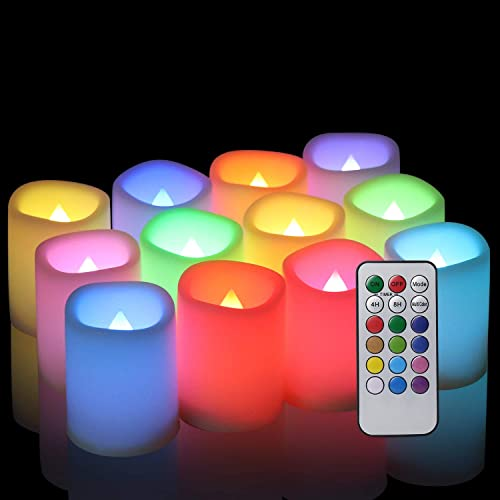 Eldnacele Color Changing Votive Flameless Candles with Remote and Timer, Multi Colored LED Tealight Candles Bulk Battery Operated Included for Christmas Party Wedding Decorations, 1.5 x 2 , Set of 12