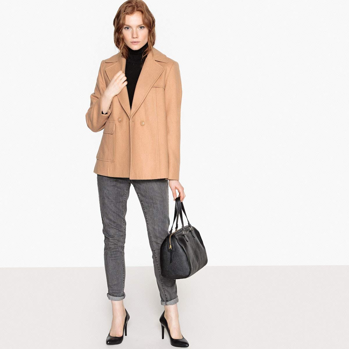 La Redoute Collections Womens Wool Mix Double-Breasted Pea Coat